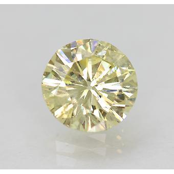 Cert 1.21 Carat Fancy Yellow VS2 Round Brilliant Enhanced Natural Diamond 6.97mm