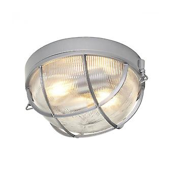 Marina Ceiling Lamp, Hematite, Clear Grooved Holophane Glass