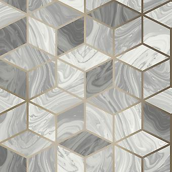 Fond d'écran géométrique en marbre Gris Rasch 248975
