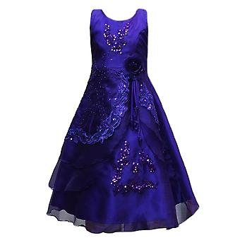 Flower Girls Formal Layered Wedding Dresses Bridesmaid Party Dress in Purple