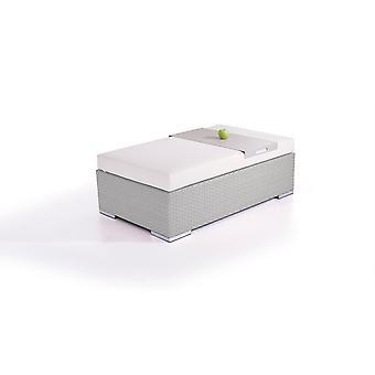 Polyrattan Cube kruk 125 cm - grijs satijn
