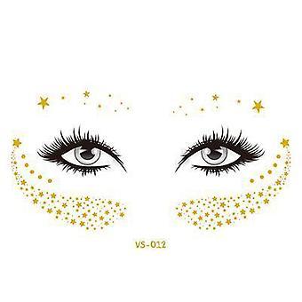 Tatuagem temporária à prova d'água do rosto dourado - Adesivos de Sardas Bloqueadas / Decal