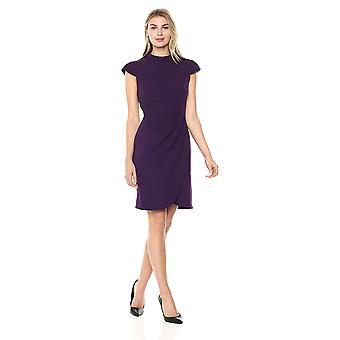 Lark & Ro Women's Cap Sleeve Mockneck Ruched Dress, Pinot, 14