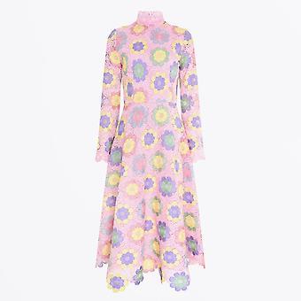 Olivia Rubin  - Lola - Floral Lace Midi Dress - Pink