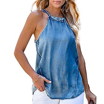 Frauen Lace-up Neckholder Sexy Denim Casual Weste