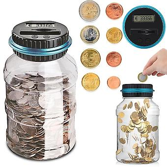 Electronic Digital Lcd Counting Coin Money Saving Box Jar Storage Box For Usd Euro Money 1.8l