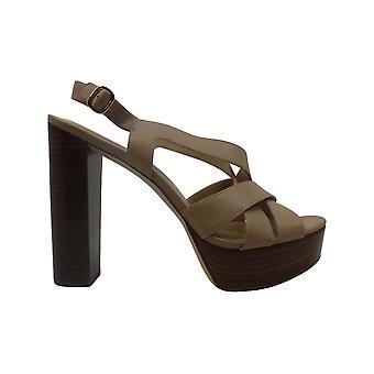 Michael Michael Kors Womens Audrina Leather Peep Toe Casual Slingback Sandals