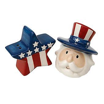 Rood wit blauw patriottische Star en oom Sam Ceramic Salt en Pepper Shaker Set