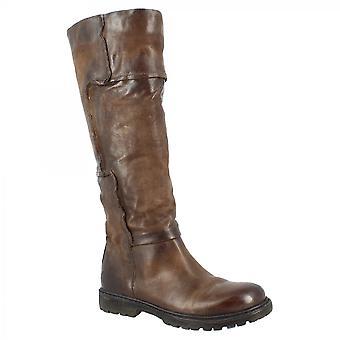 Leonardo Shoes Femmes's bottes rondes faites à la main genou orteil haut en cuir de veau brun