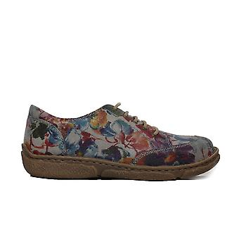 Josef Seibel Neele 02 Blue Floral Leather Womens Lace Up Shoes