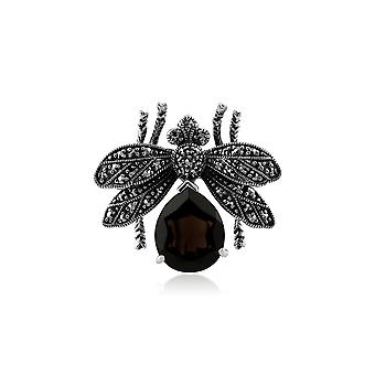 Classic Pear Marcasite & Smokey Quartz Bumble Bee Brooch in 925 Sterling Silver 21880