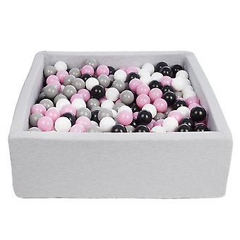 Vierkante ballenbak 90x90 cm met 450 ballen zwart, wit, licht paars & grijs