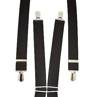Ties Planeta Plain Dark Brown Men's Pantalón Braces - Clips de Plata