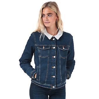 Frauen's Only Tia Teddy Denim Jacke in Blau