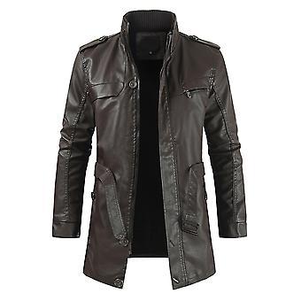 YANGFAN Men's Lapel Leather Jacket Solid Color Mid Long Coat