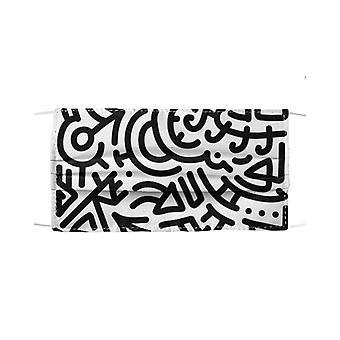 Masque de lignes de doodle de marqueur noir gras v13249