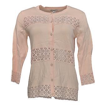 Isaac Mizrahi Live! Dames's Sweater Lace Cardigan Roze Trui A275427