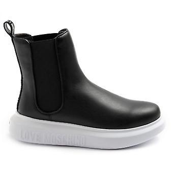Szerelem Moschino fekete bőr boka boot gumik