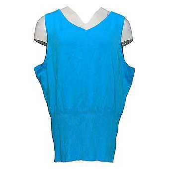 Linea Por Louis Dell'Olio Women's Top Sleeveless V Neck Blue A307363