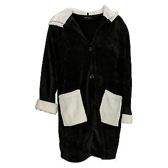 Soft & Cozy Women's Robe Hooded Button Front With Pockets Black 663-020