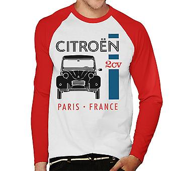 Citroen Black 2CV Paris Ranska Single Stripe Miesten baseball pitkähihainen t-paita