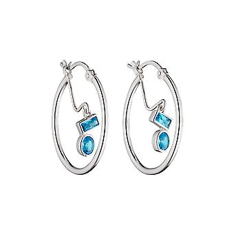 Fiorelli Silver Womens 925 Sterling Silver Blue Cubic Zirconia Charm Hoop Boucles d'oreilles