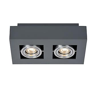Modern Surface Mounted Black Aluminium 2 Light, GU10