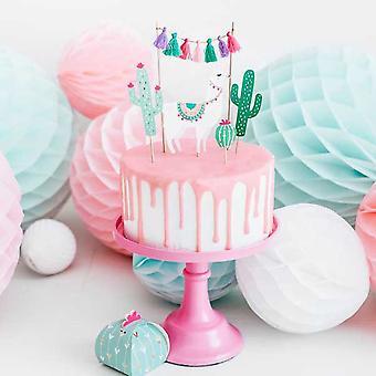 Lama Kaktus Kake Toppers   Meksikansk bursdag barnas cupcake dekorasjon sett