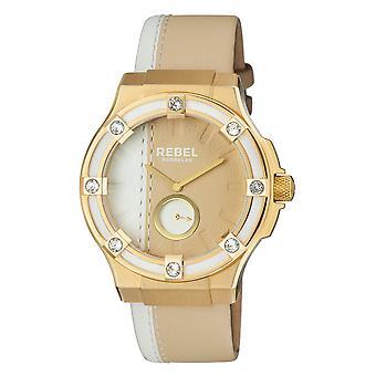 Rebel Women's Flatbush Yelloe Gold Dial Leather Watch