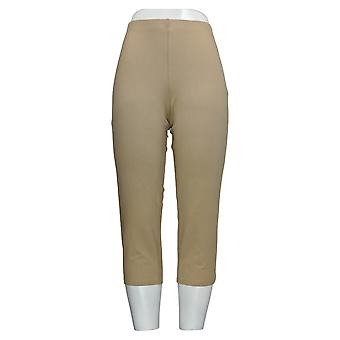 Mujeres con Control Mujeres's Petite Pantalones Straight Leg Knit Crop Beige A252190