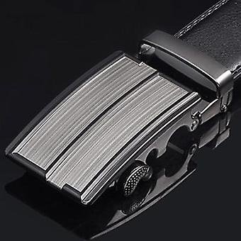 Genuine Leather Strap Belts, Men Automatic Buckle Black Cummerbunds Belts