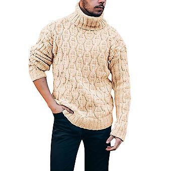 Men's Solid Color High Neck Casual Slim Warm Sweater