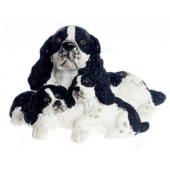 Dolls House Musta &; Valkoinen Englanti Springer Spaniel ja pennut Miniatyyri Lemmikkikoirat