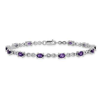 2.70 Carat (ctw) Purple Amethyst Infinity Bracelet in Sterling Silver