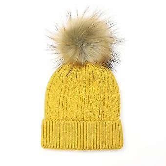 POM Cable Knit Faux Fur Bobble Hat | Mustard