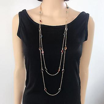 Mixed Color Sweet Cute Necklace, Colorful Pendant Sweater Necklace