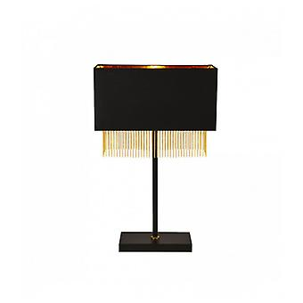 1-light Fringe Table Lamp - Black Shade With Gold Chain