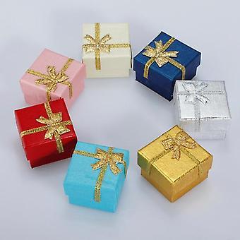 24pcs Bowknot مكعب مجوهرات خاتم قرط مربع هدية مربع ورقة صلبة