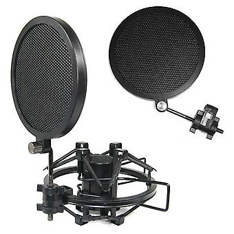 Double couche Fer Mesh Microphone Mic Wind Screen Anti Pop Filter