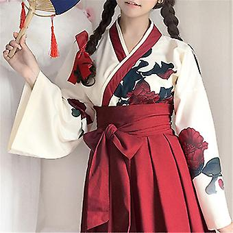 Japanese Style Retro Kimono Floral Long Sleeve Women Party Dress