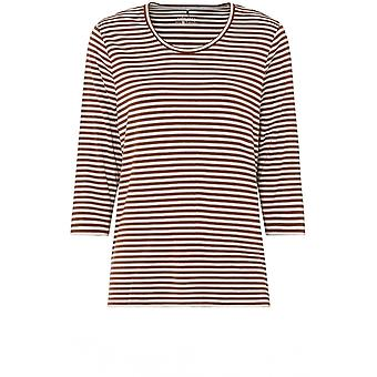Olsen Tan & White Striped Top