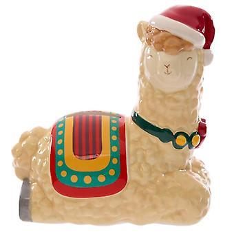 Boîte d'argent de lama de Noël en céramique de collection