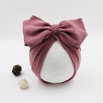 Puuvillainen vauvan hattu, Vastasyntyneen lapsen lippis, Beanie Top Bow Knot, Valokuvaus rekvisiitta,