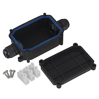 Plastic Waterproof IP66 Outdoor 2 Way Junction Box & T06-3 Terminal Black