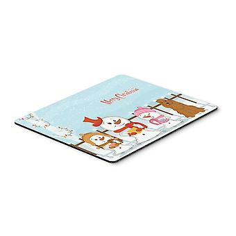 Caroline s Schätze Frohe Weihnachten Carolercocker Spaniel rote Maus Pad, Multicolor, 7.75X9.25 (Bb2426Mp)
