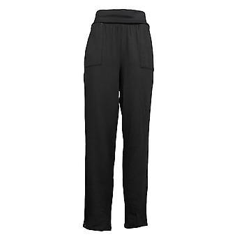 Chiunque leggings accogliente maglia maglia foldover Jogger Nero Chino A388558