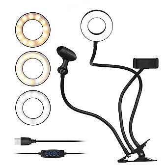 Clip-on mini USB-ringlampa 3 belysningslägen