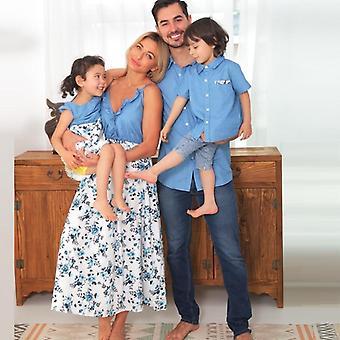 Familie bijpassende jurk, tank bloem moeder dochter jurken