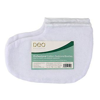 Chaussons professionnels DEO pour traitements pédicure de cire de paraffine - Blanc - Coton