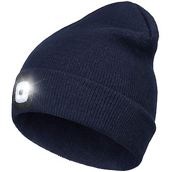 Bright Led Lighted Beanie Cap, Unisex Rechargeable Lighted Headlamp Hat Hands Free Flashlight